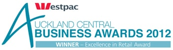Westpac Auckland Central Business Awards 2012 - WINNER - Excellence in Retail Award