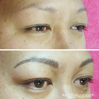 eyebrow microblading. as you can see in the before and after photos above, colour, shape density of brow is customised to suit your face colouring. eyebrow microblading