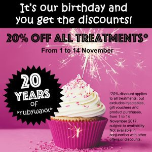 20% off treatments at Rubywaxx - conditions apply