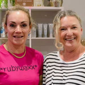 Ruby with Deborah (right), the new owner of Rubywaxx.
